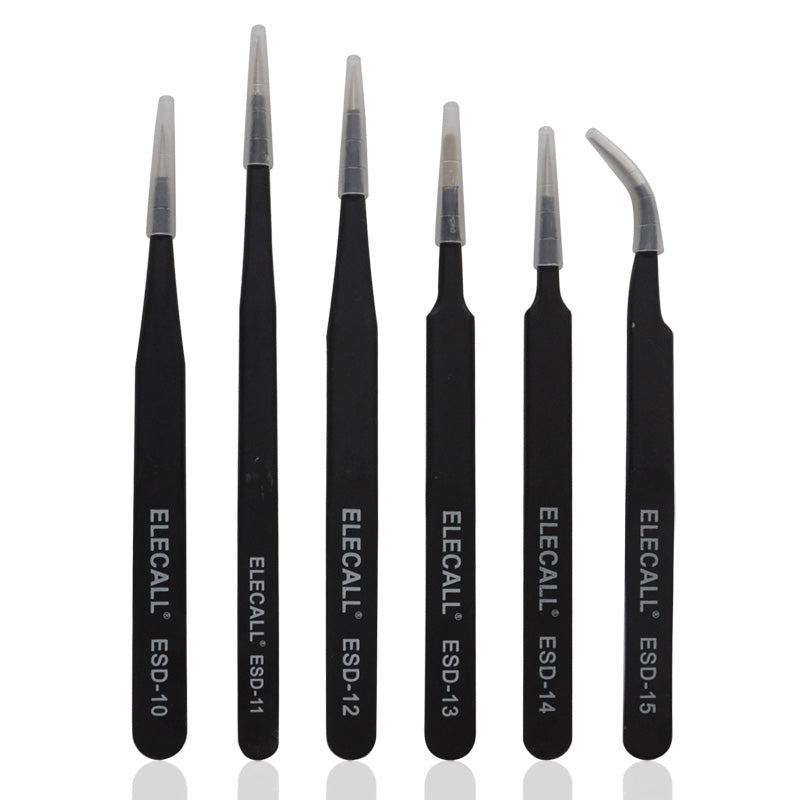6pcs/1lot Resists Corrosion Anti-static for Precision working and Electric Maintenance Straight Curved Tweezers