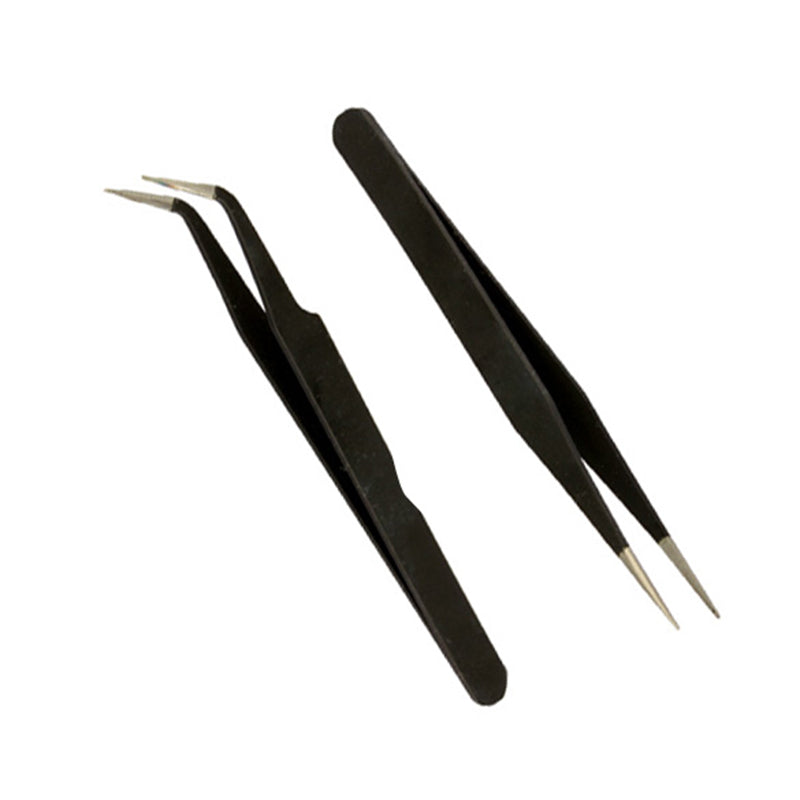 High Quality Tweezers For Nail Art 2 Black Acrylic Gel Rhinestones Paillette Nipper Picking Tool Pro Hand Tools Kits  AA
