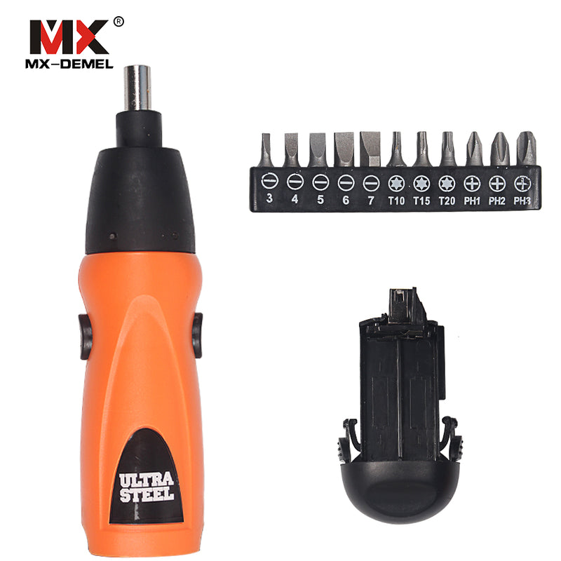 MX-DEMEL Electric Screwdriver 6V Battery Operated Cordless Screwdriver Drill Tool Electric Screwdriver Set+11Pcs Bits Accessory
