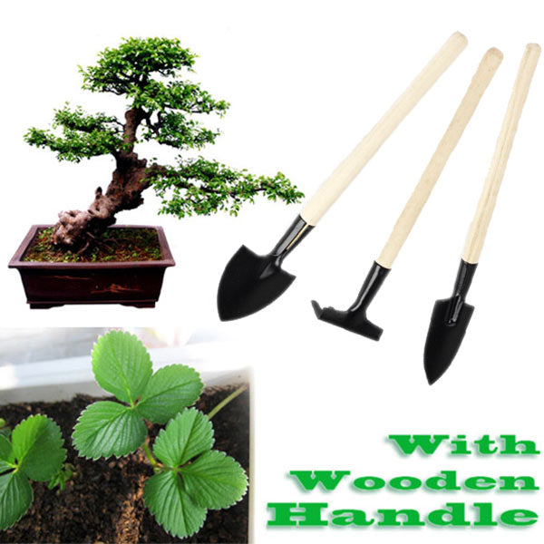 Mini Garden Plant Tool Set With Wooden Handle Gardening Tool Shovel Rake   CLH