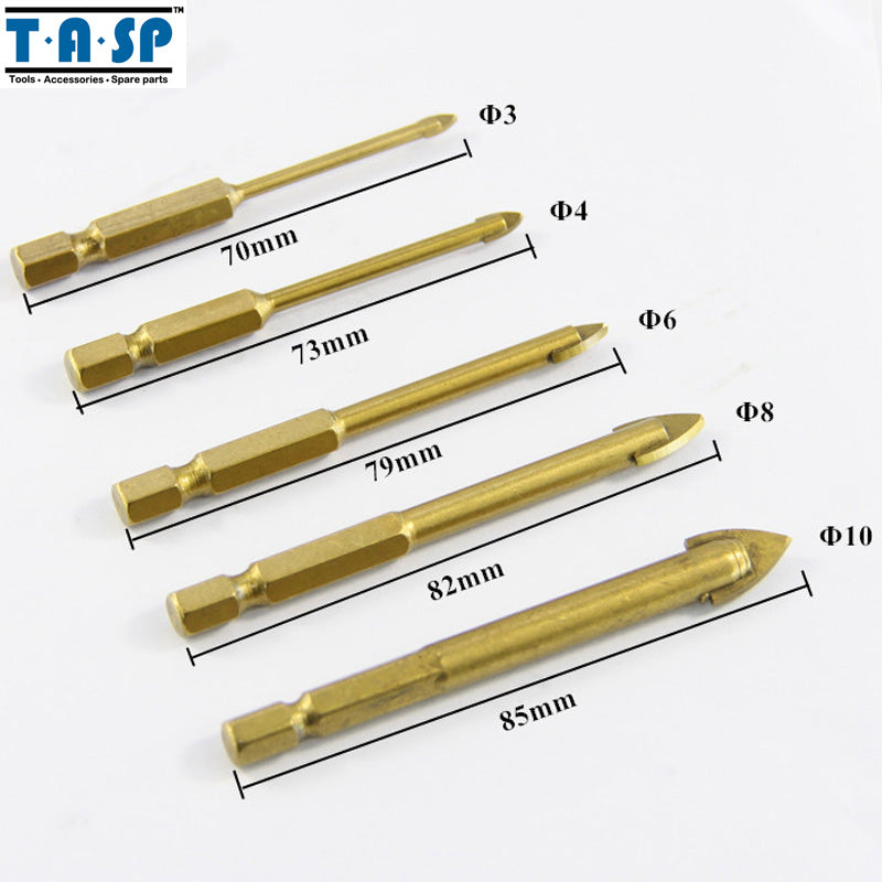 "TASP 5PC Tungsten Carbide Glass Drill Bit Set Titanium Coated Power Tools Accessories with 1/4"" Hex Shank"