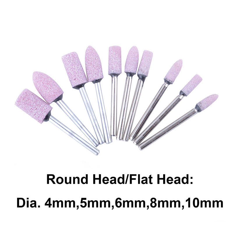 Useful 10PCS Cylinder Conical Shape Mounted Stone Point Abrasive Grinding Wheels Drill Bit Set for Dremel Rotary Polish Tools