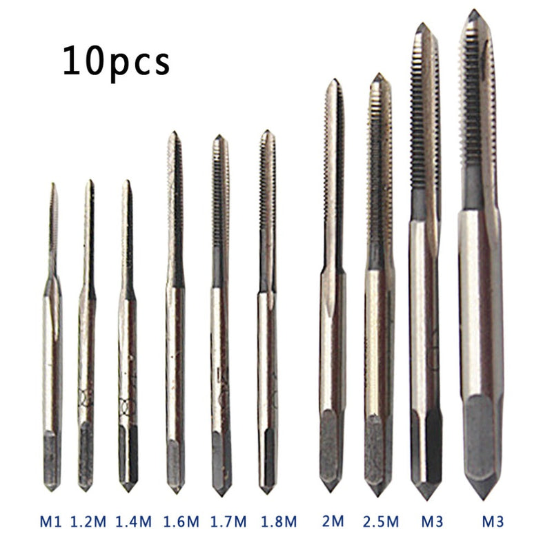 Threading tool Hand Screw Tap Screw Thread 10pcs / set HSS Mini Tap Thread Wire Tapping Threading Grinding Carving Tool