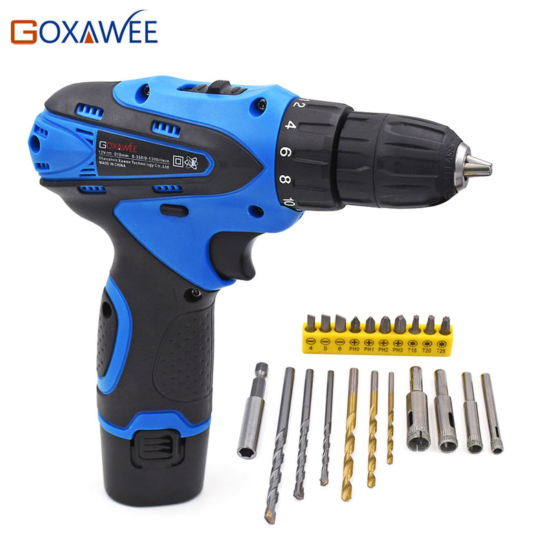 GOXAWEE Electric Screwdriver Drill 12V Two Speed Cordless Battery Rechargeable Screwdriver Set With 21pcs Screwdriver Drill Bits