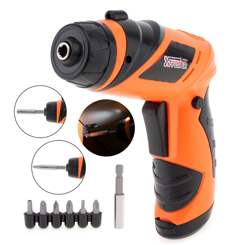 New X-POWER 6V Battery Operated Cordless Screwdriver Mini Rotary Wireless Electric Screw Driver