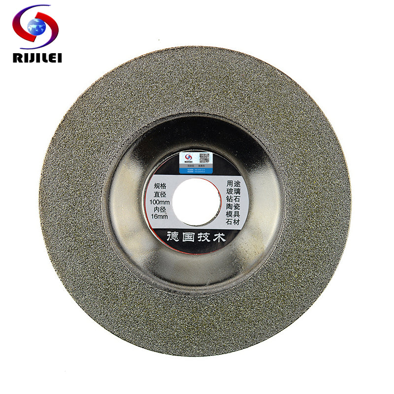 RIJILEI 4inch 100mm*16*1.5 Electroplated diamond grinding wheel for carbide diamond cutting discs for glass tile jade MX23