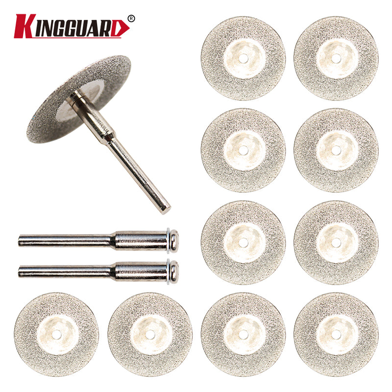 KINGGUARD 10pcs/set 30mm Mini Diamond Saw Blade Silver Cutting Discs with 2X Connecting Shank for Dremel Drill Fit Rotary Tool