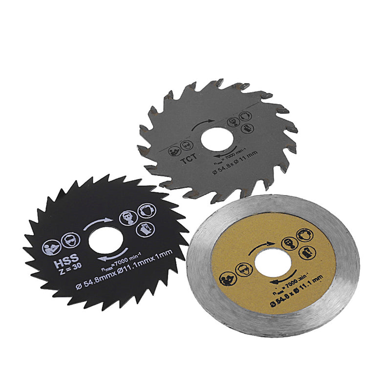 3 Pcs Circular Saw Blade Cutting Disc HSS Cutter Disc for Mini Drill Tools Wood Drills Tools Out Diameter 54.8mm H02