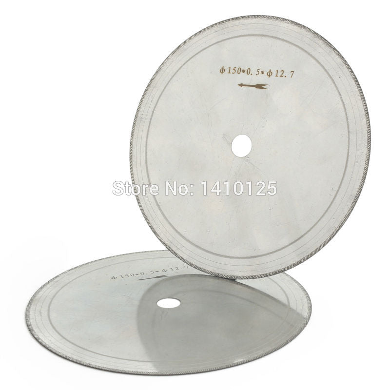 "2Pcs 6"" inch Super-Thin Rim 0.53mm Diamond Lapidary Saw Blade Cutting Disc Arbor 1/2 5/8 Jewelry Tools for Stone Gemstone Agate"