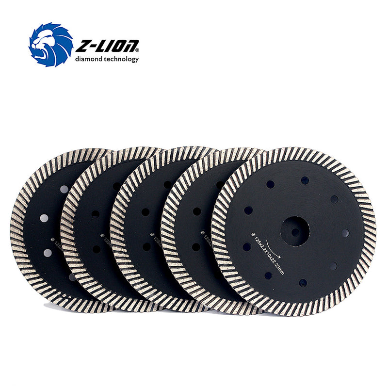 "Z-LION 5"" 5pcs/Lot Turbo Rim Dry Cutting Disc Diamond Saw Blade 125mm Diamond Wheel For Cutting Granite Marble Tile"