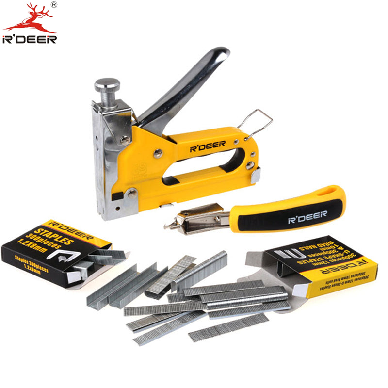 RDEER Nail Gun Tacker & Remover Set Three With Heavy Duty Rapid Upholstery Hand Staple Nail Tacker Stapler Gun Set Power Tools