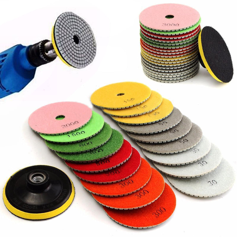 19pcs 4 inch Diamond Polishing Pad Wet/Dry Granite Marble Concrete Stone Grinding Discs Set
