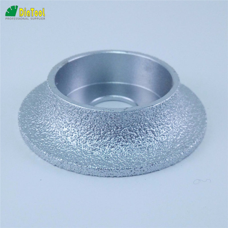 DIATOOL Dia75mmX15mm, 1/4 Round Vacuum Brazed Diamond HAND-HELD Profile Wheel For Demi Bullnose Edge