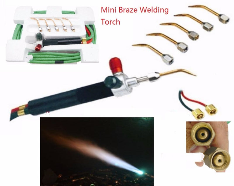 Mini Braze Welding Torch use Oxygen Liquified Gas Acetylene Butane inc. 5 tips for refrigeration jewelry & dental application