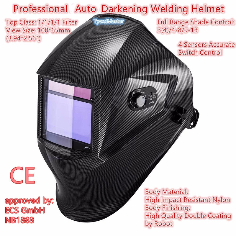 "Welding Mask Top Class 1/1/1/1 View 100*65mm(3.94*2.56"") Shade 3(4)/4-8/9-13 Solar 4 Sensors Carbon Fiber Welding Helmet EN379"