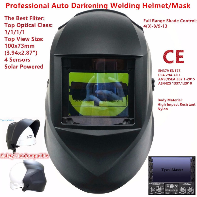 "Welding Mask Top Size 100x73mm(3.94x2.87"") Top Optical Class 1111 4 Sensors Shade Range 4(3)-13 Auto Darkening Welding Helmet CE"