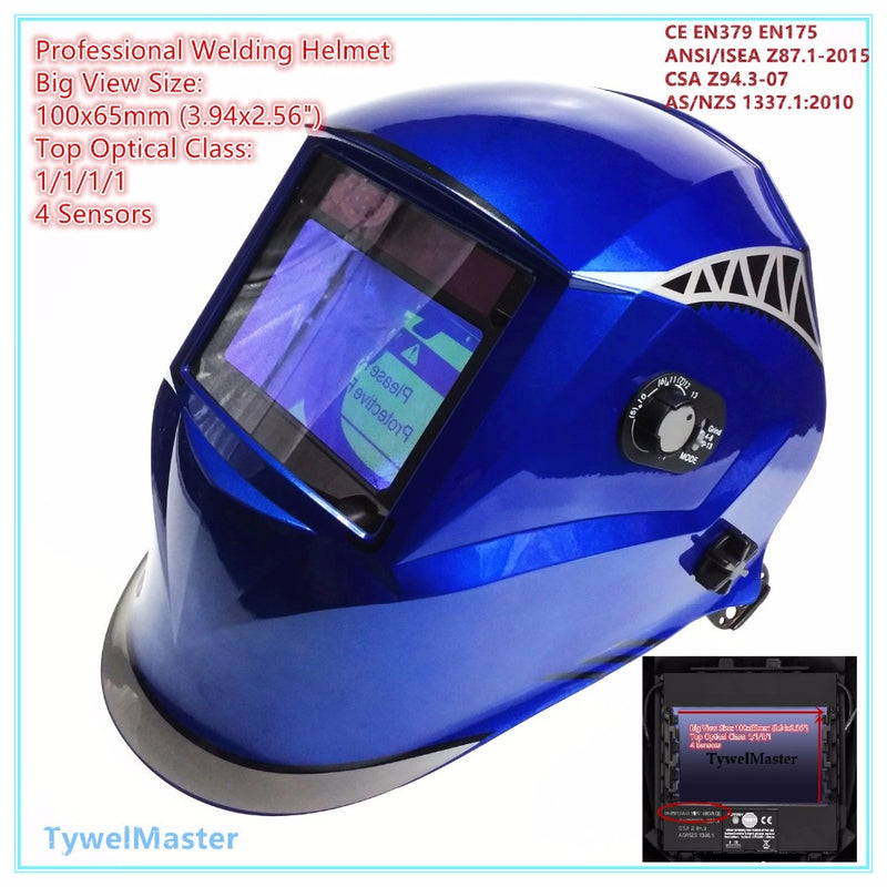 "Welding Helmet View Size 100x65mm(3.94x2.56"") Top Optical Class 1111 4 Sensors Shade Range 4(3)-13 Auto Darkening Welding Mask"