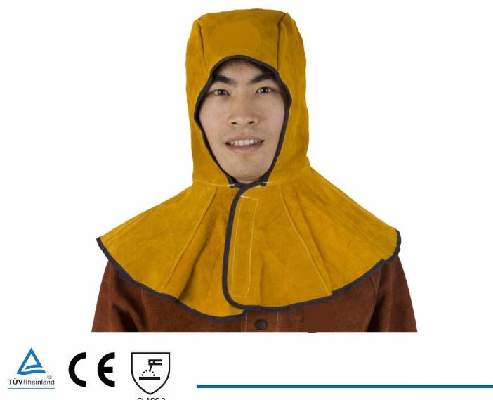 Welding Cap Premium Leather Welder Hood Hat Split Cowhide Cotton Mesh Lining Anti Fire Stitched 39X50 Golden Color CE UL