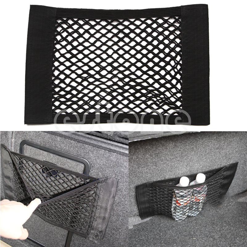 Rear Trunk Seat Elastic String Net Mesh Storage Tool Bag Pocket Cage 40*25cm For Car