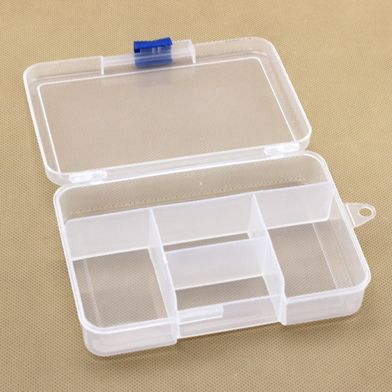 Urijk 5 Lattices Solid Transparent Rectangle PP Plastic Lock Tool Box Electronic Components Packaging Case