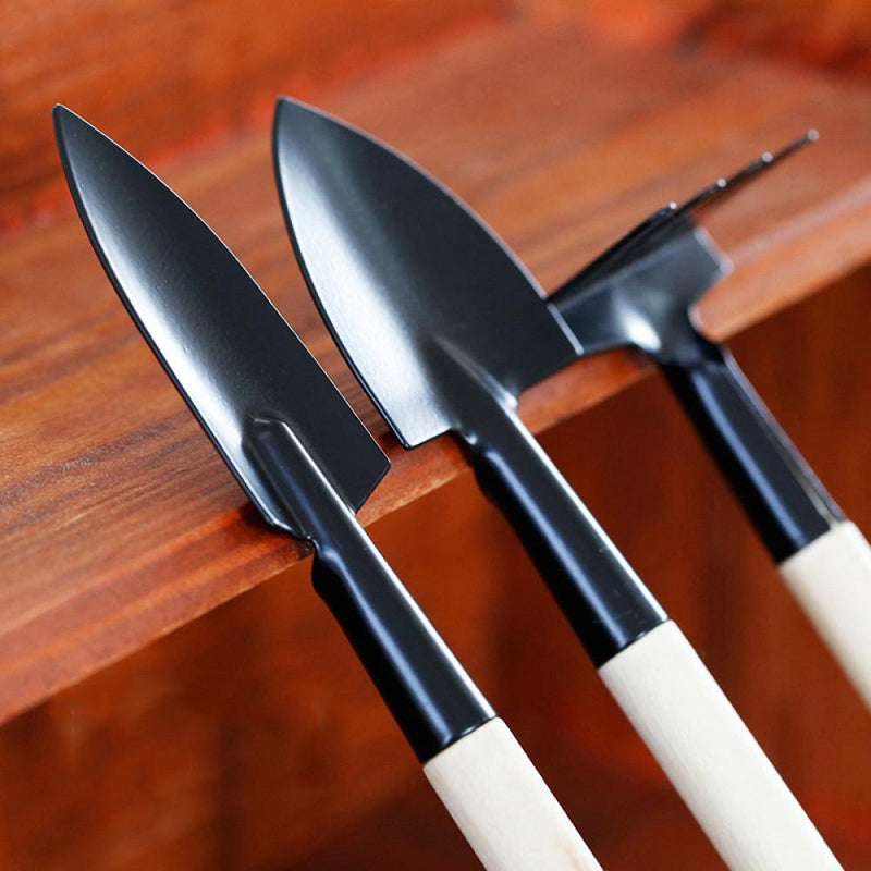 3pcs Mini Plant Garden Gardening Tools Set With Wooden Handle Rake Shovel Spade
