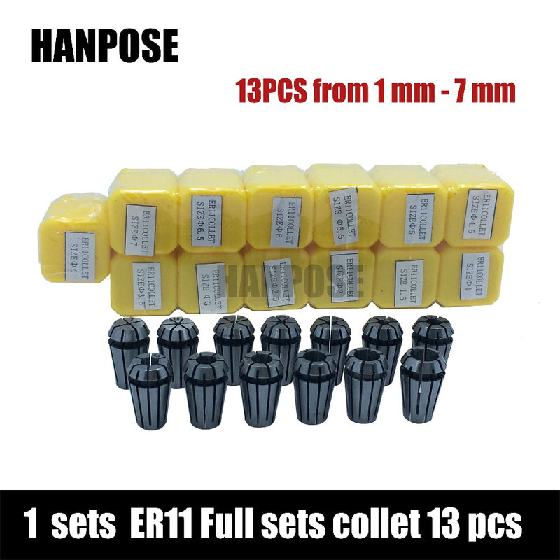 Top standard quality er11 collet set 13 pcs from 1 mm to 7 mm for CNC Milling Lathe Tool 1-7mm Tool Spindle motor
