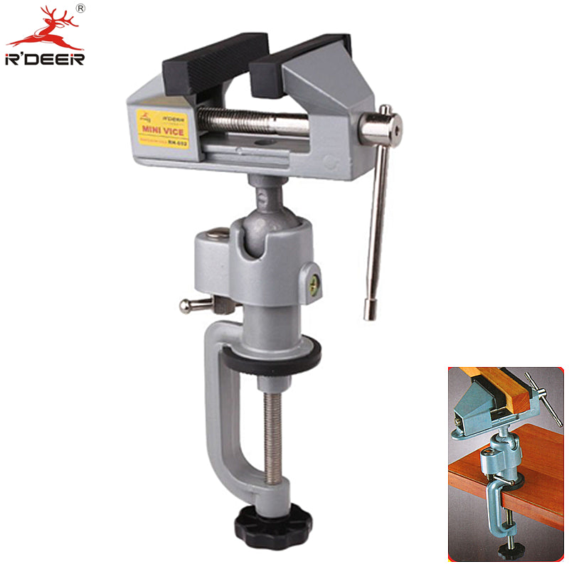 RDEER Bench Vise Universal Adjustable 360 Degree Table Vice Clamp Aluminium Alloy Tabletop Vise Tilt Rotates Bench Tools