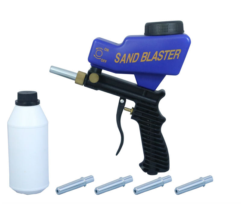 LEMATEC AS118 Sandblaster Air Gravity Feed Blast Gun With Four Nozzle Replaceable Tips Abrasive Sand Blasting Pneumatic Tools