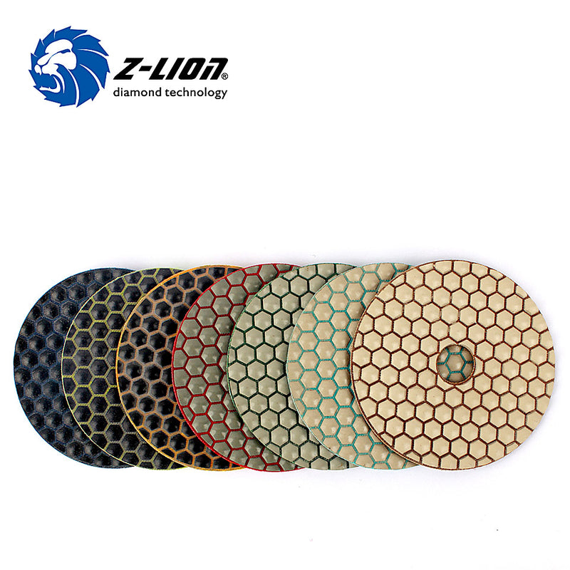 "Z-LION 4"" Diamond Dry Polishing Pads 7pcs / Set For Stone Polishing Thin Flexible Resin Bond Granite Sander Disc"