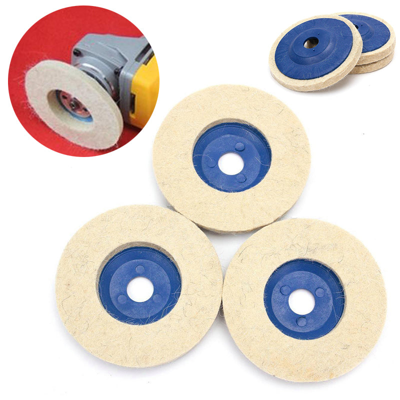 3pcs 4inch Wool Polishing Wheel Buffing Wheel Grinder Felt Polishing Discs Pads for Wood Polishing Metal Abrasive Wheels