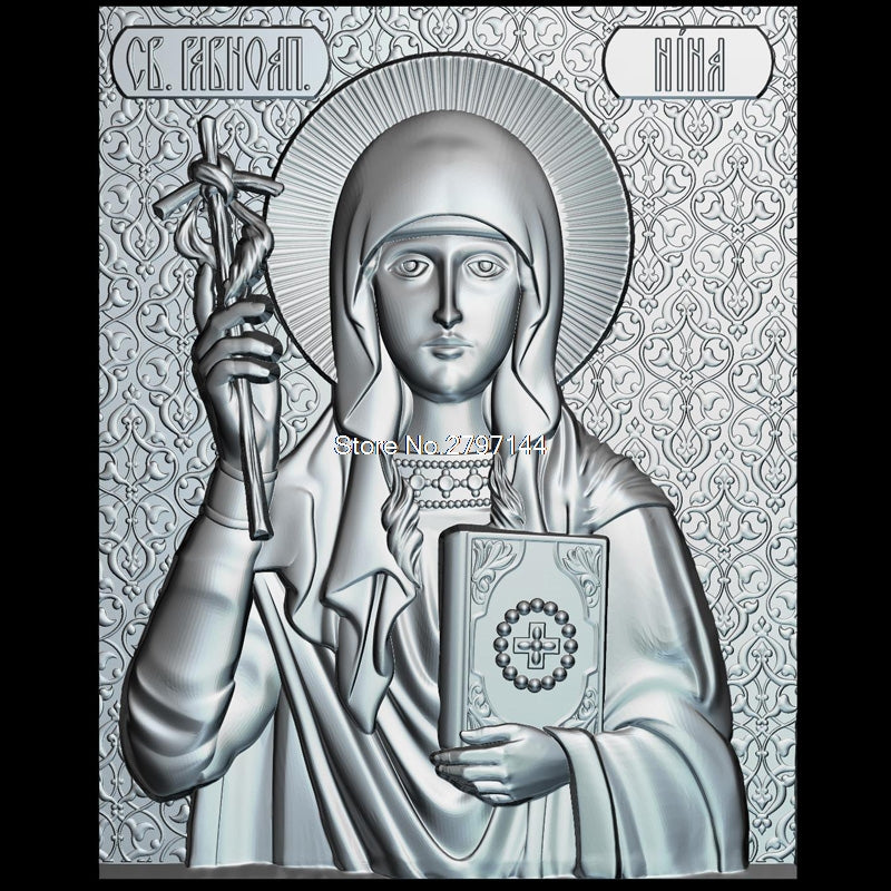 The icon of St.Equal to the Apostles Nina 3d model for cnc STL format Religion 3d Relief Model STL Router 3 axis Engraver ArtCam