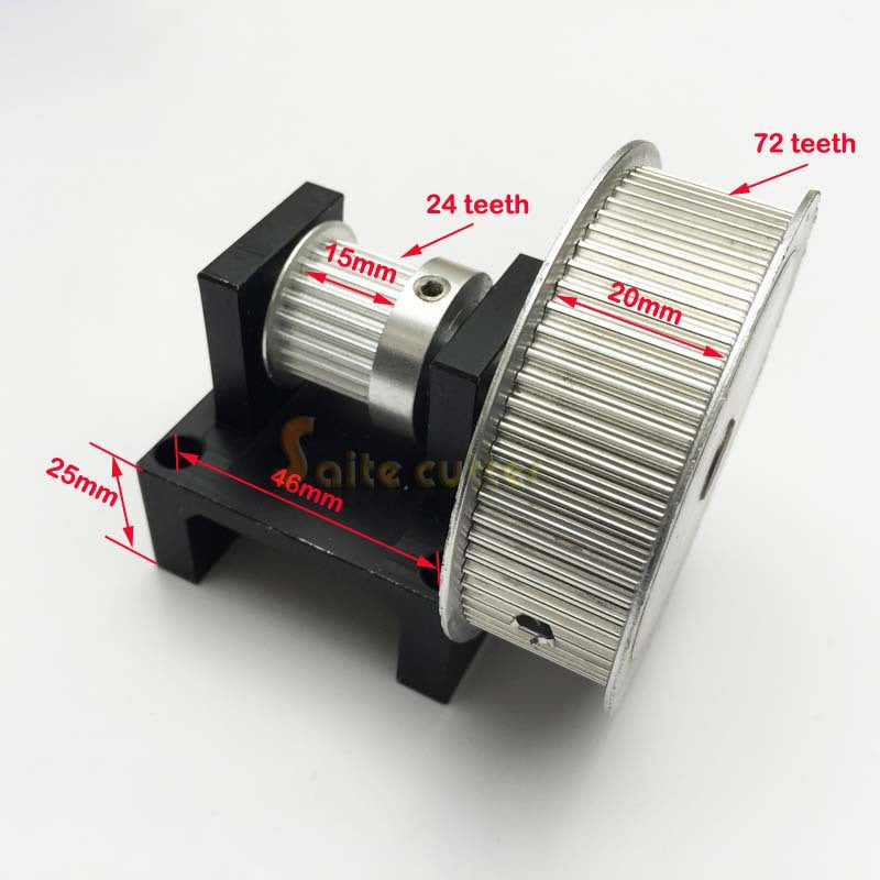 XL ( 3:1 ) Timing Belt Pulley Teeth ( 24 : 72 ) DIY Step Motor Gear 72 tooth : 24 teeth CO2 Laser Cutter Engraver