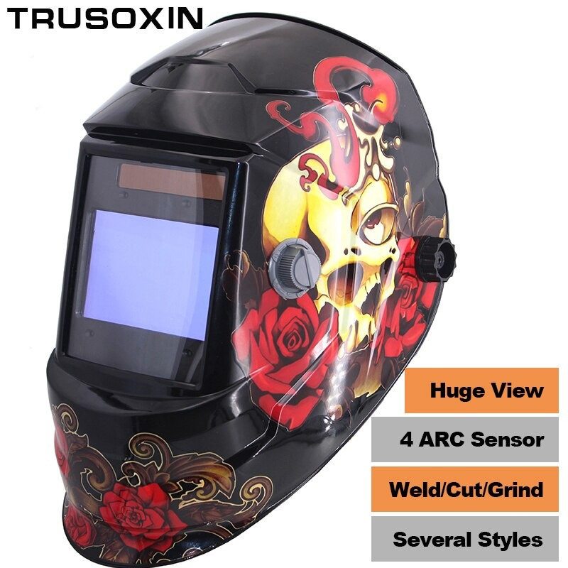 NEW Clown Big View Eara 4 Arc Sensor DIN5-DIN13 Solar Auto Darkening TIG MIG MMA Grinding Welding Mask/Helmet/Welder Cap/Glasses