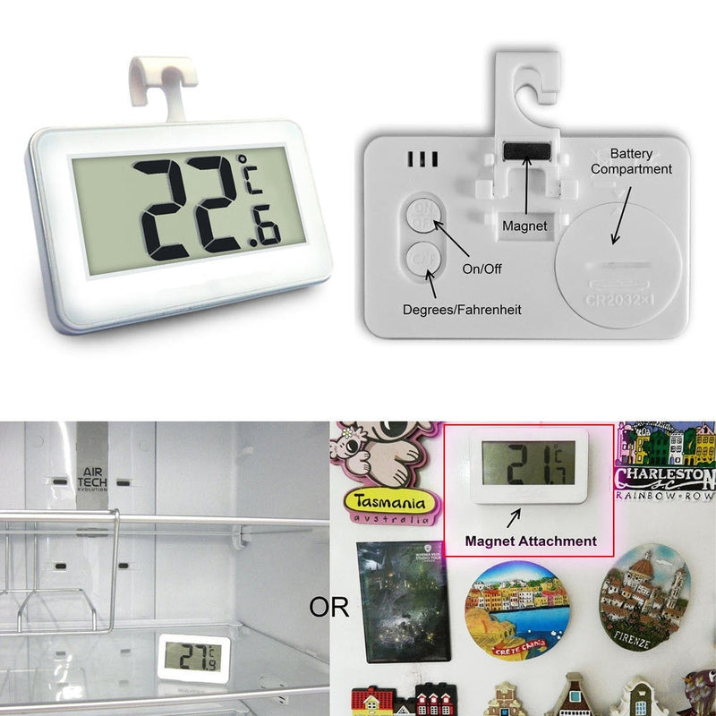 Wireless LCD Digital Refrigerator Freezer Indoor Room Household Thermometer with Magnet Hook Tool New --M25