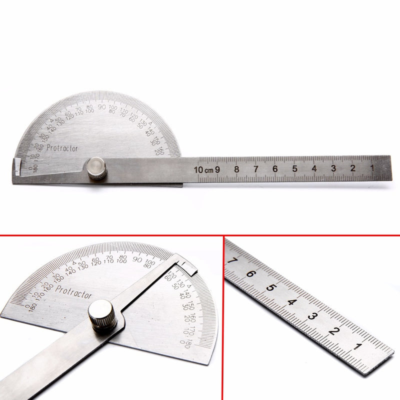1pc 180 Degree Protractor Angle Ruler Stainless Steel Measuring Tool 198x53x14mm For Woodworking