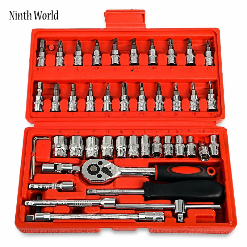 "Ninth World 46pcs Car Ratchet Wrench Set 1/4"" 4-14 mm Sleeve For Car Motorcycle Bicycle Repair Tools Kit"