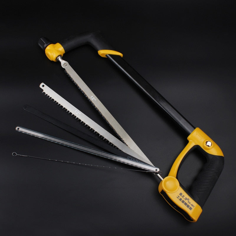 Adjustable Round Tube Hacksaw Saw Hand Tool with Aluminum Alloy Frame and Comfortable Handle for Cutting Wood Metal Fiber