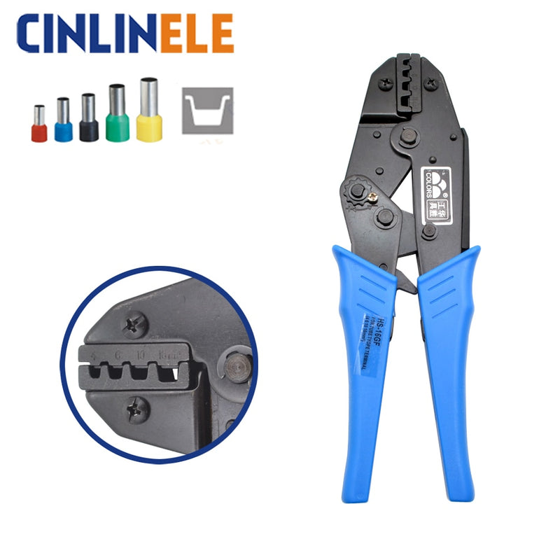 HS-16GF 4,6,10,16mm^2 11-5AWG RATCHET CRIMPING PLIER(EUROPEAN STYLE) Electrical Terminals Crimper Tools Blue Handle