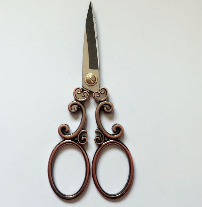 cloud pattern hand craft sewing scissors stainless steel vintage europ style antique art work home trimming scissor