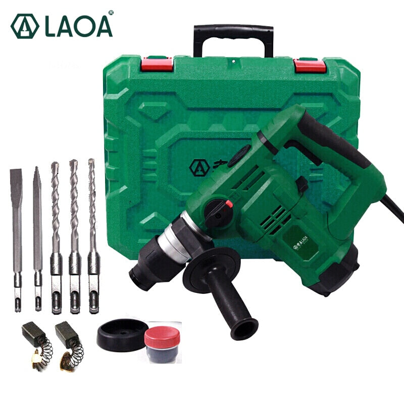 LAOA 32mm Multi-functional Electric Hammer Breaker Hammer 1200W Demolition Hammer Impact Drill for Household
