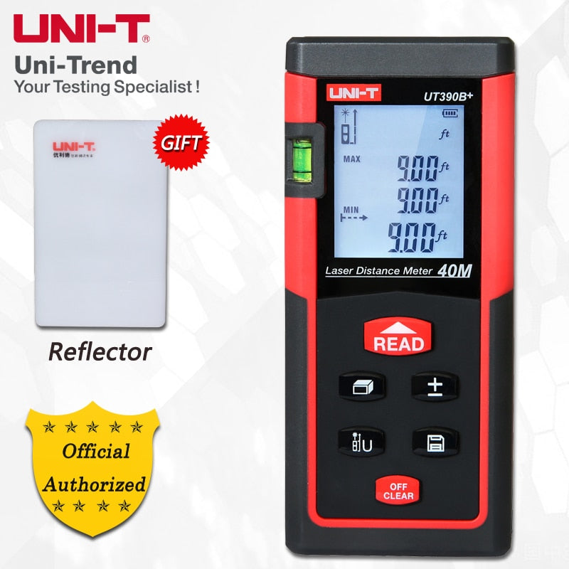 UNI-T UT390B+/UT391+Laser Distance Meter; 40M/60M Infrared Measuring Instrument/Electronic Ruler, Data Storage, Auto Power Off