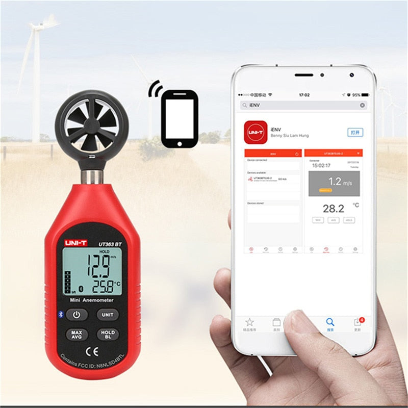 UNI-T UT363BT Wind Speed Meter Digital Bluetooth Pocket Size Anemometer Measurement Thermometer Mini Wind Meter Anemometer