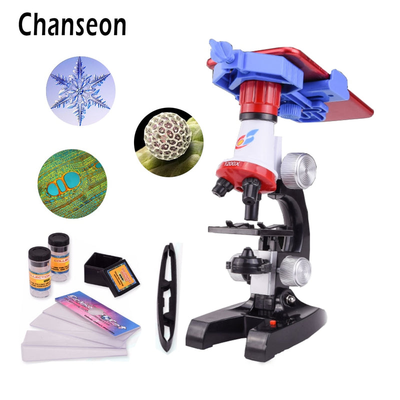 Microscope Kit Lab With phone holder LED School Science Educational Toy Gift Refined Biological Microscope For Kids Gifts