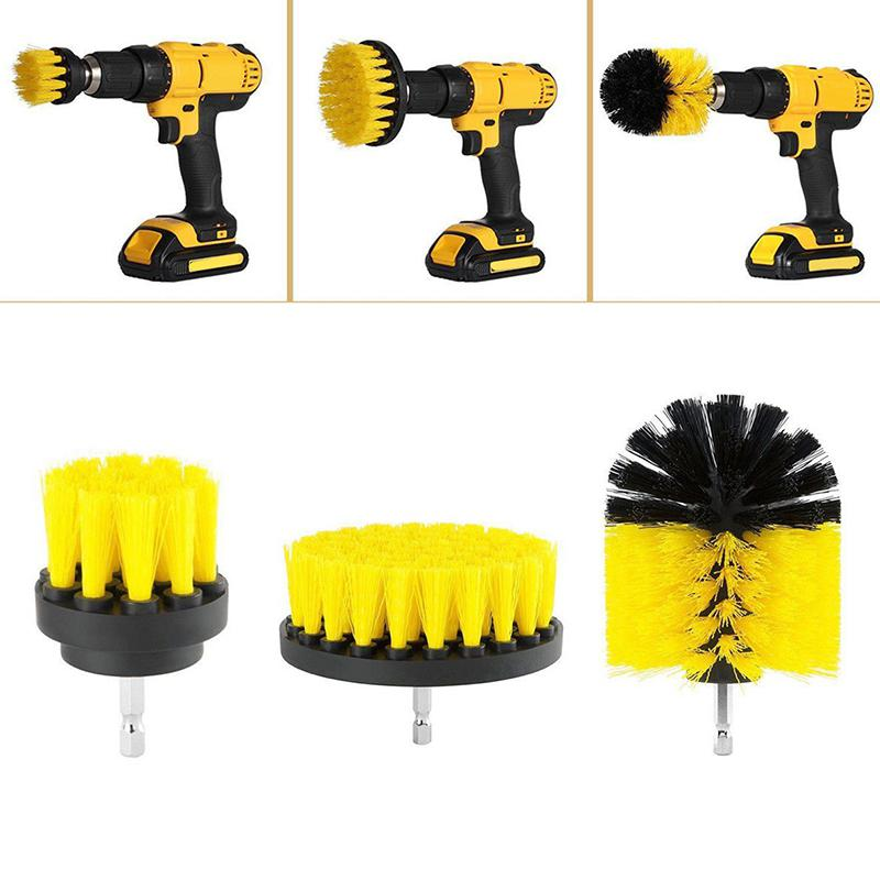 LanLan 3Pcs/set Electric Drills matkap Power Scrubber screwdriver Scrub electric Drill Brush set Bathroom Tile Cleaning Kit