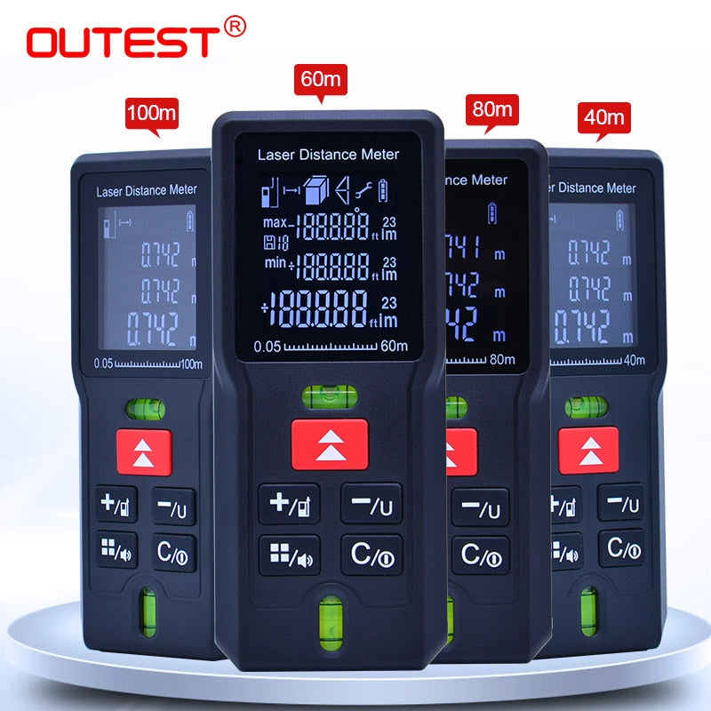 OUTEST laser distance Meter  laser Tape measure Diastimeter tester tool Mini Digital Laser Rangefinder 40M 60M 80MM 100M