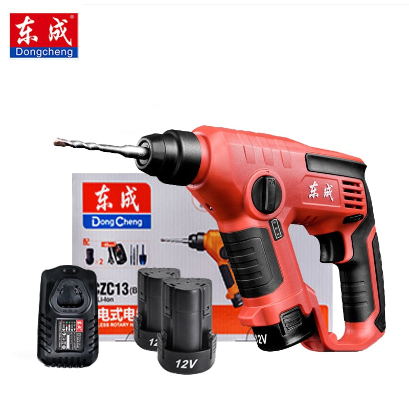 Dongcheng Electric Hammer Impact Drill Power Drill  12V 12mm 3 Functions DC Electric Rotary Hammer with BMC and 5pcs Accessories