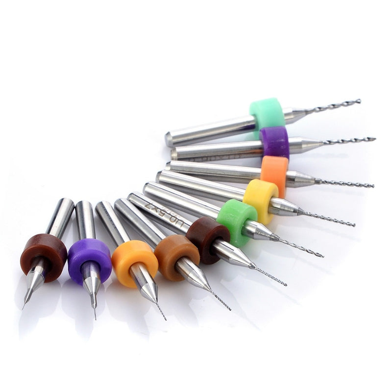 10pcs Micro PCB Carbide Twist Drill Bits Set 0.1/0.2/0.3/0.4/0.5/0.6/0.7,0.8/0.9/1.0mm For Jewelry Rotary Tool
