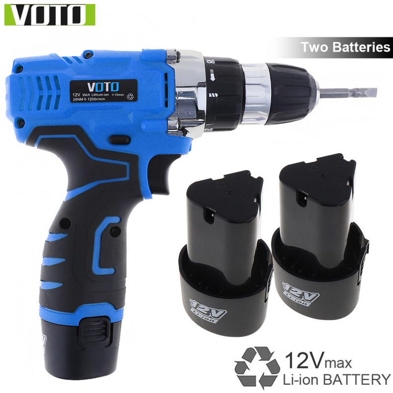 VOTO AC 100 - 240V Cordless 12V Electric Screwdriver / Drill with Two-speed Adjustment Button and 2 Lithium Batteries