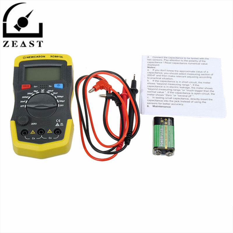 XC6013L Digital LCD Display Capacitor Capacitance Meter Tester mF uF Circuit Gauge with Test Lead Line & Battery
