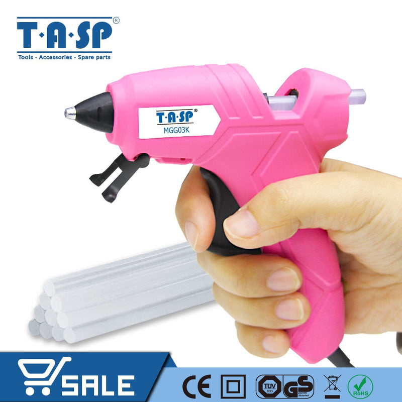 TASP 230V 12(70)W Hot Melt Glue Gun High Temperature Melting Repair Tool Kit with 10pcs 7mm Glue Sticks for Craft Projects